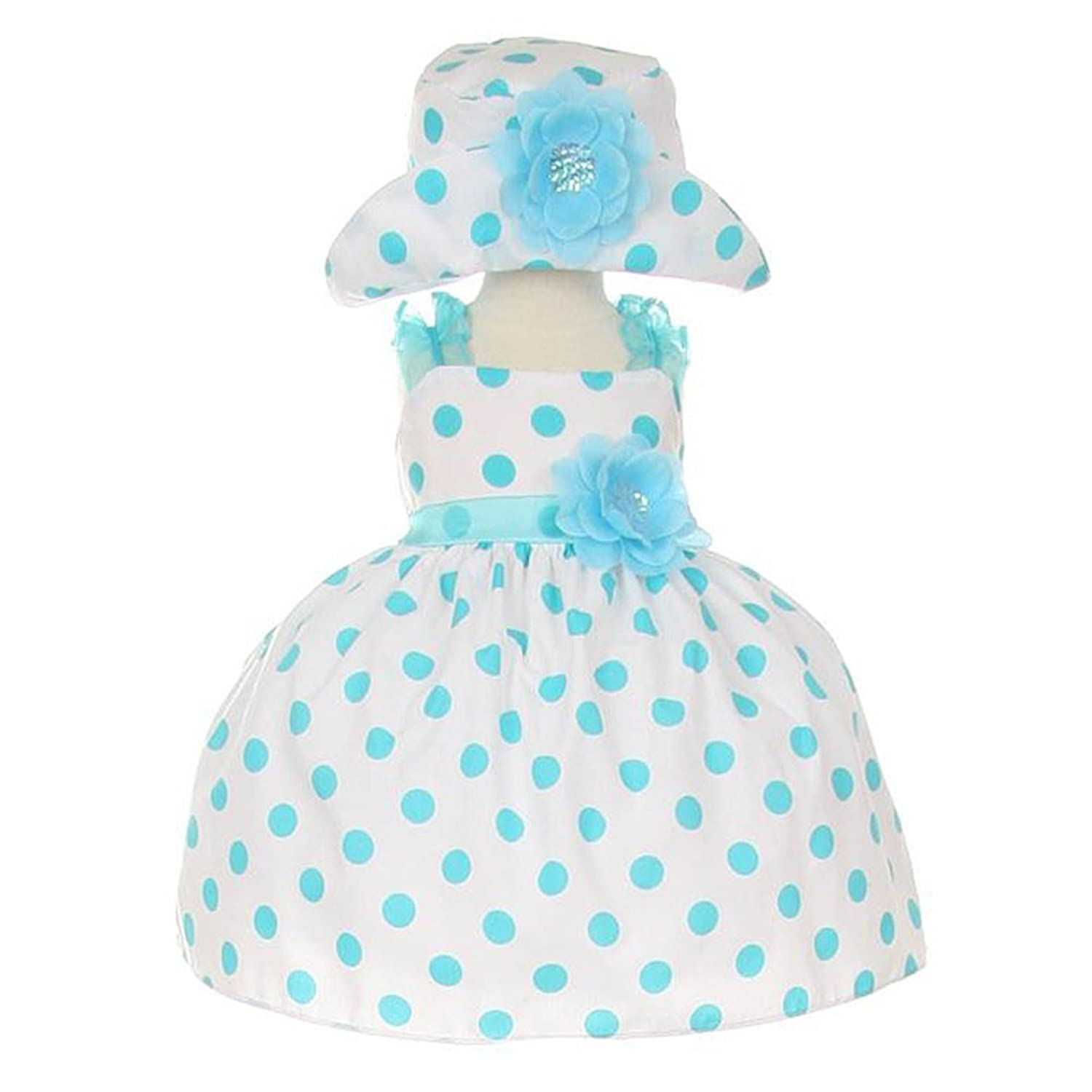 Amazon.com: Infant-Toddler Aqua Polka Dot Party Dress with Hat: Clothing