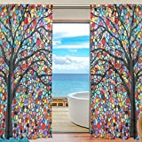 2 Pc: Elegant Voile Window Long Sheer Curtain Two Panels Colorful Tree Pattern for Door Window Room Decoration 55×84 inch For Sale