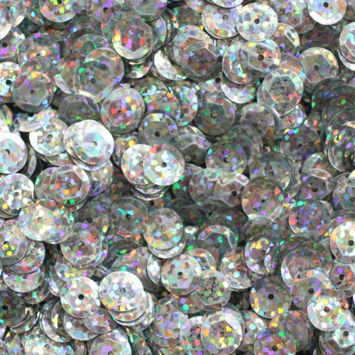 8mm Cup Facet Round SEQUIN PAILLETTES ~ Ultra Silver Premium Hologram Multi Metallic Premium ~ Loose sequins for embroidery, bridal, applique, arts, crafts, and embellishment. Made in USA