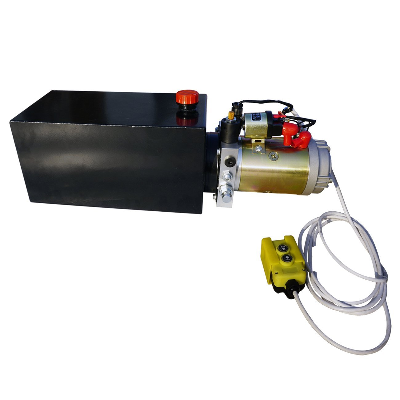 Fisters Durable High Quality Electric Metal Reservoir 12V Hydraulic Pump Power Supply Unit Pack Single Acting Remotely Controlled Dump Trailer Fit for Lift Unloading(6 Quart Metal Tank) Fristers L12t160123YYDLDY6D-1