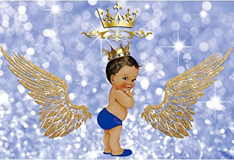Amazon Com Leyiyi 5x3ft Royal Prince Baby Shower Party Backdrop Bokeh Light Blue Angel Gold Wing God Gift Background Shining Dots Boy Birthday Photo Banner Camera Photo