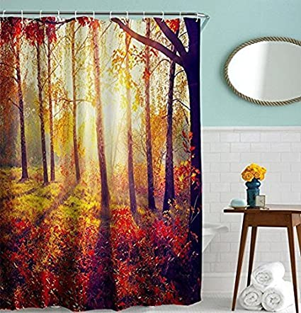 DENGYUE Flaming Morning Grass Forest Shower Curtain Bright Sunshine Vacation Hiking Beautiful Natural Scene Light