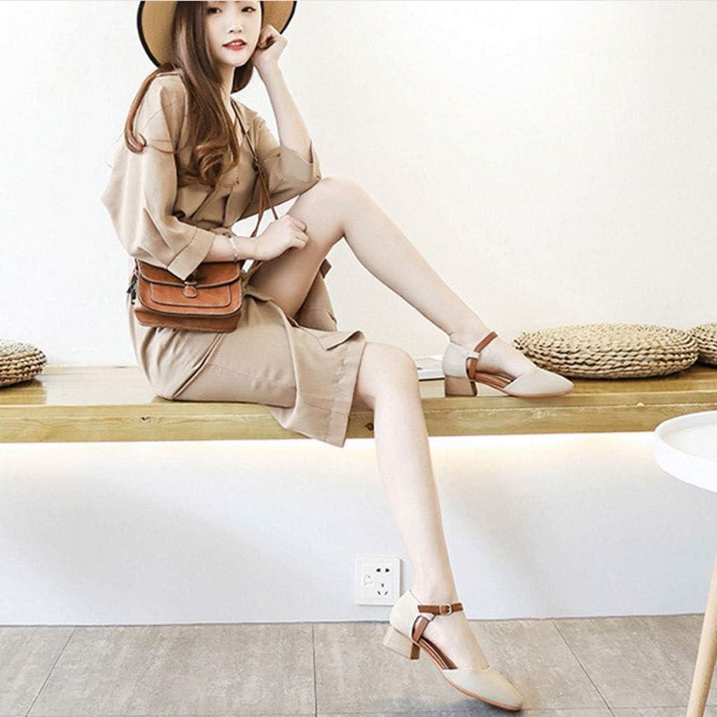 Mid-Heeled Sandalen Mode Veelzijdig Antislip Comfortabele Baotou Side Dames Schoenen A