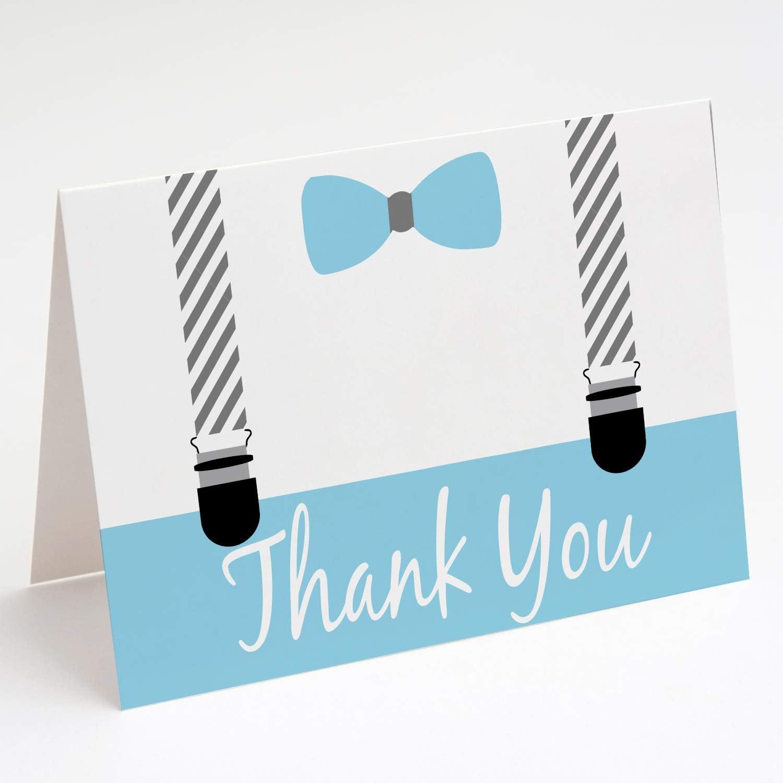 PAPERGALA 베이비 블루와 회색 작은 남자 감사 카드 아기 샤워 빈 감사 카드 10 팩 빈 카드 봉투 A2 회색 파란색 흰색 내부 접힌 흰색 내부