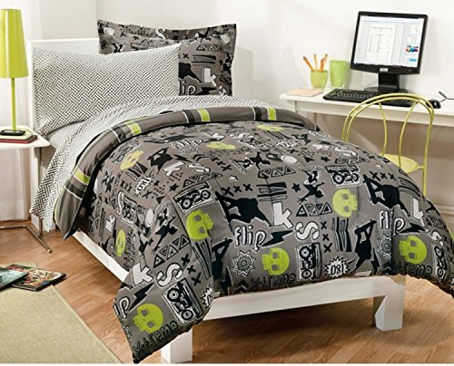 5 Piece Skull Skateboards Printed Pattern Bed In A Bag Set Twin Size, Featuring Sports Reversible Crossed Stripe Design Bedding, Stylish Fun Playful Skater Boys Teens Bedroom, Grey, Green, Multicolor