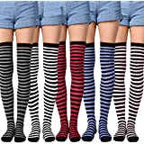 Yolev Women Thigh Highs Socks Girls Striped Over-knee Cotton Stockings 5-Pack