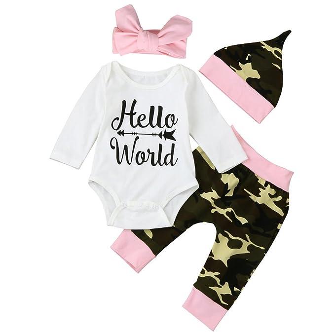 Amazon.com: scfcloth bebé recién nacido niña Hello World ...