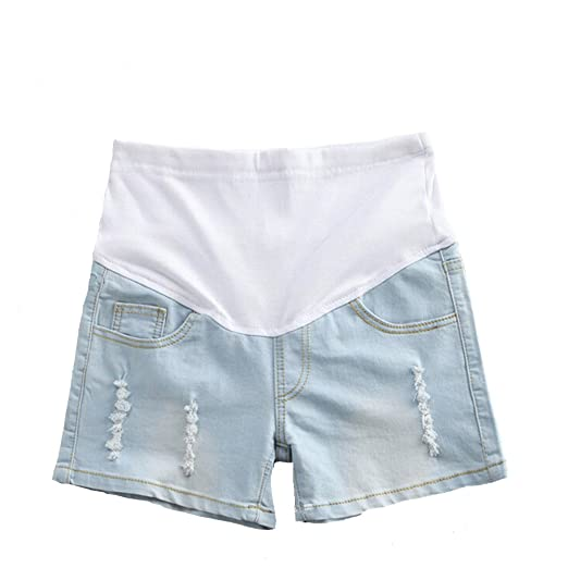 82fc59de28f78 Helen-sky Womens Maternity Shorts Denim Pregnant Jean Shorts Summer Care  Belly Short Pants Light Blue at Amazon Women's Clothing store: