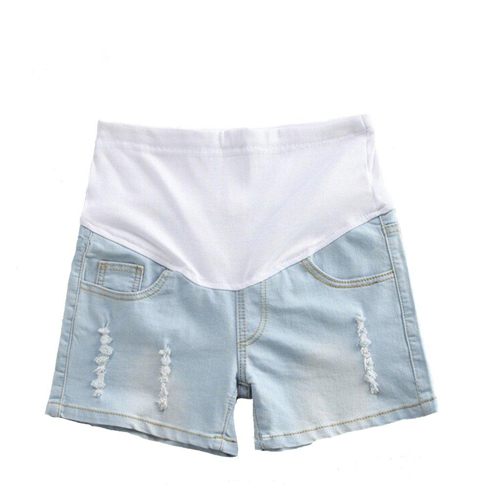 Helen-sky Womens Maternity Shorts Denim Pregnant Jean Shorts Summer Care Belly Short Pants Light Blue (L, Light Blue)