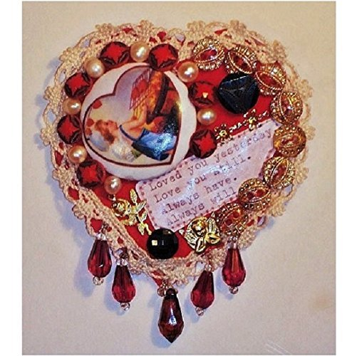 My Love Pendant Brooch, Little Victorian Boy Heart, Photo Album Cover .Original Mixed Media of Buttons, Felt, Lace, Crazy Quilt Heart. One of a Kind!