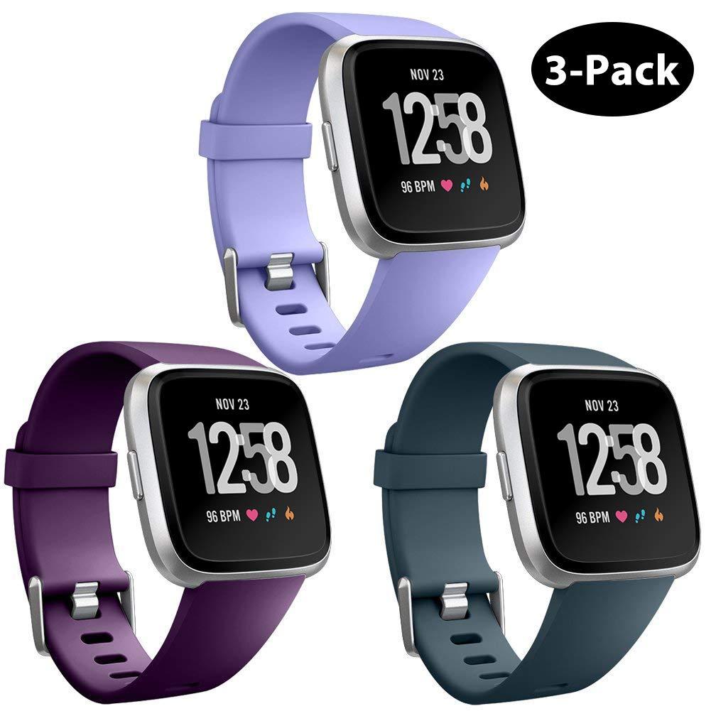 Repuesto Mallas De Reloj Fitbit Versa Y Fitbit Versa Lite (3 Unidades, Lila, Violeta, Gris) Talle S