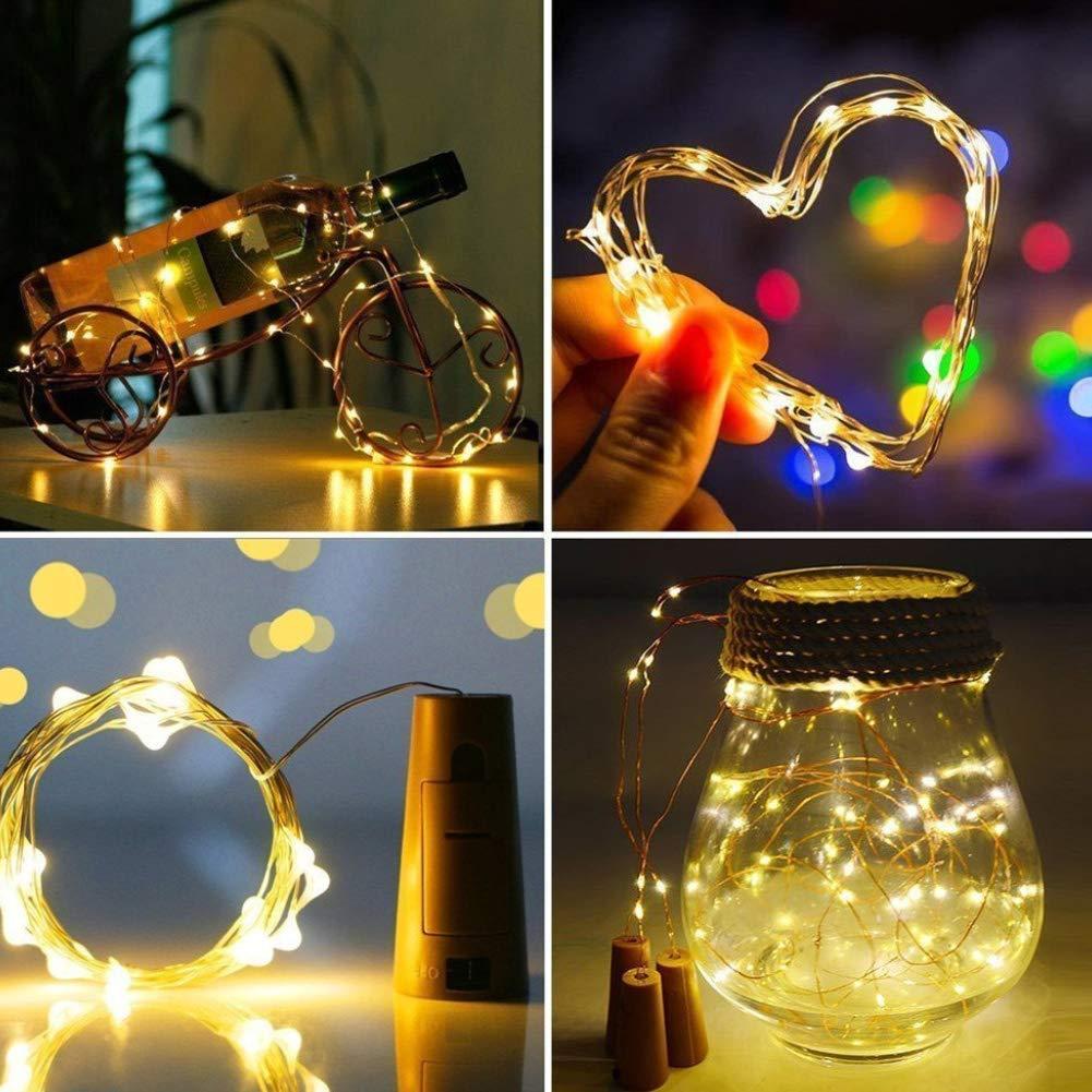 Fai da Te 20 Micro Lampada Bottiglia Sughero luci Colorate Fata HVdsyf 2M Luce Pulsante Giardino di casa Decorazioni Natalizie luci Batteria Decorazione Bianca