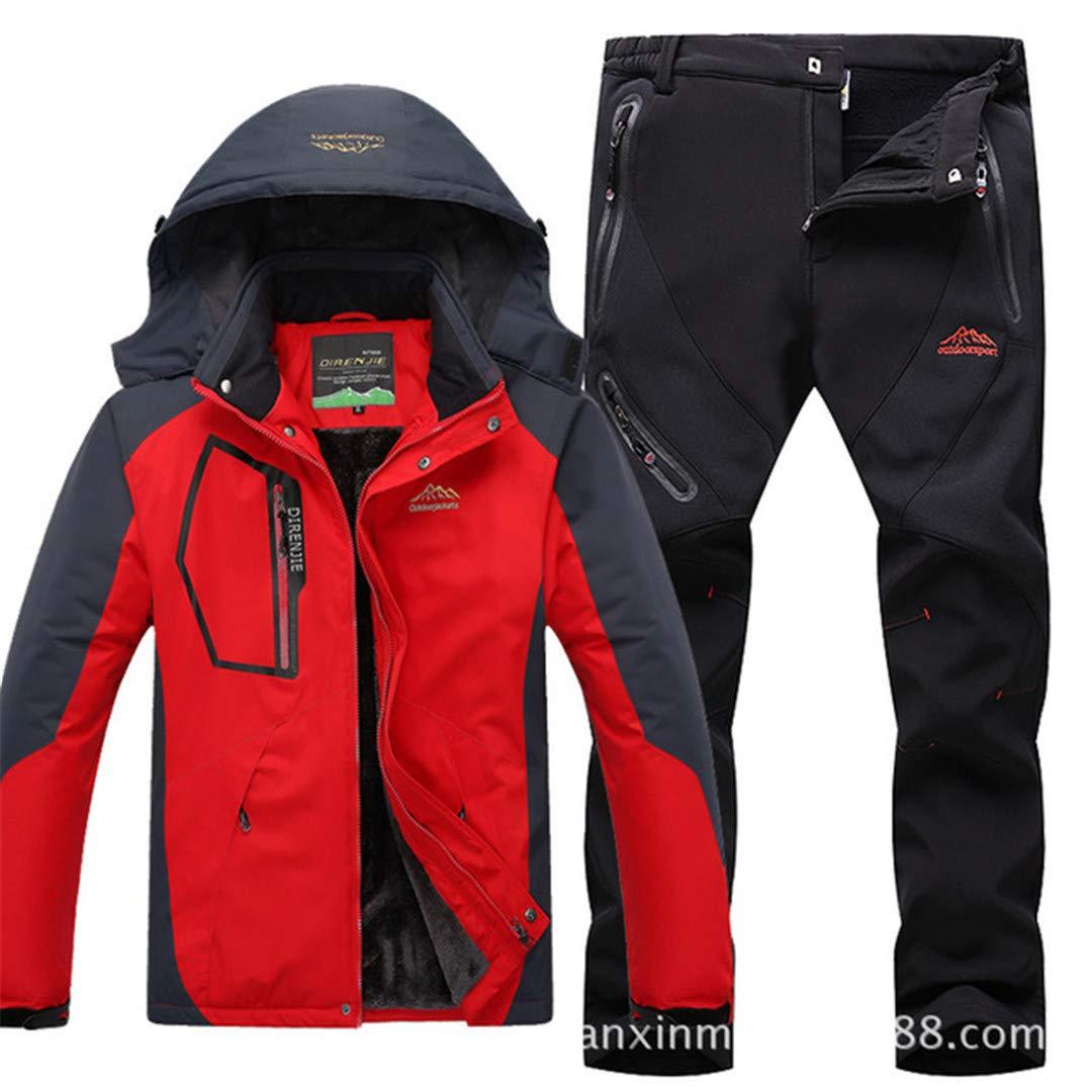 Herren Fleece Warm windundurchlässige wasserdichte Skifahren Anzüge Snowboard Set Outdoor-Ski Jacket + Pants