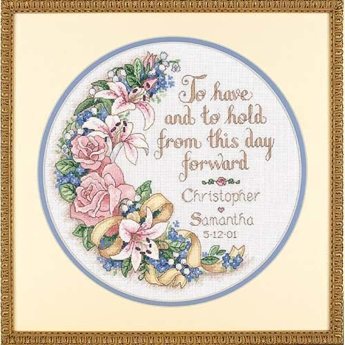 Dimensions Counted Cross Stitch Kit Floral 'To Have and To Hold' Wedding Record , 14 Count White Aida, 12'' D ()