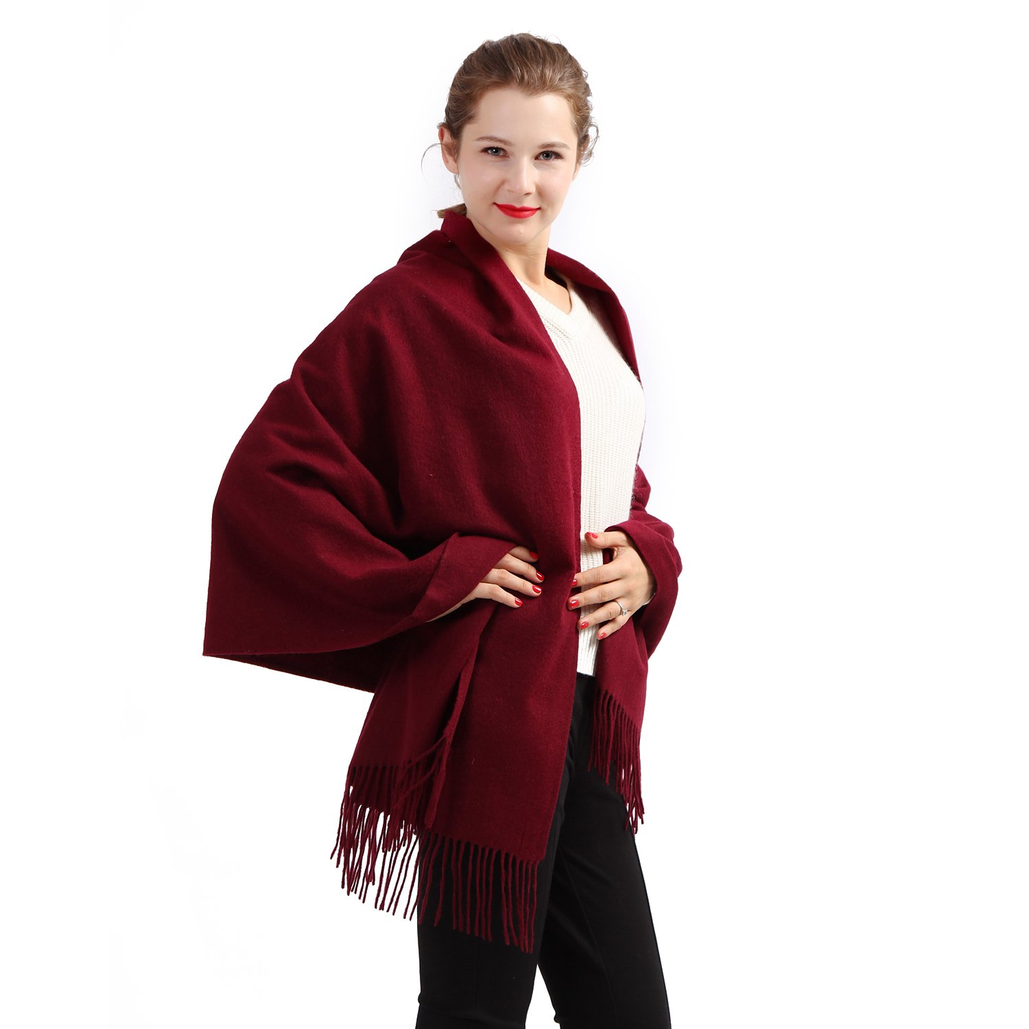 100% Cashmere Wrap Shawl Stole for Women, Guaranteed Quality Pure Cashmere, Super Soft and Warm Extra Large Scarf, Dark Red