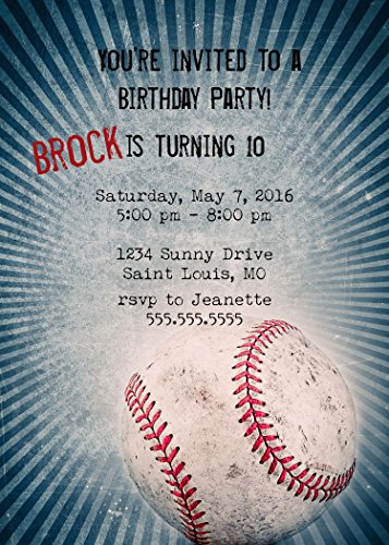 Customized - Baseball Birthday Party Invitation -