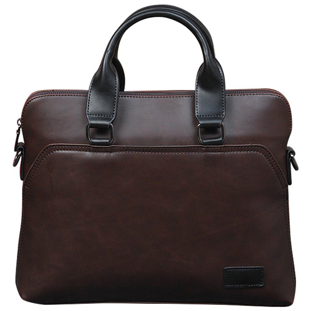 Mens Business Laptop Briefcase, Berchirly Men Bag PU Leather Messenger Bag For Work Computer Casing Coffee