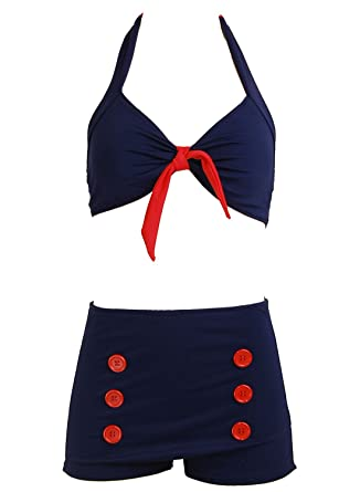 258092b14e82a Navy Blue Retro Pin up Rockabilly Sailor Nautical Women's Swimsuit Swimwear  Bikini (X-Large