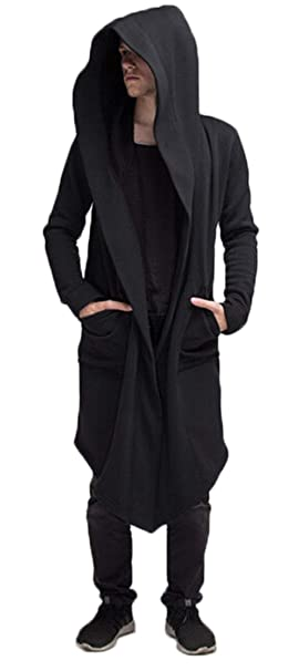 ddde2fce11 Fashion Long Hooded Jacket Overcoat Solid Color Hip Hop Sweatshirt Cardigan  Outwear Cloak Trench Coats for