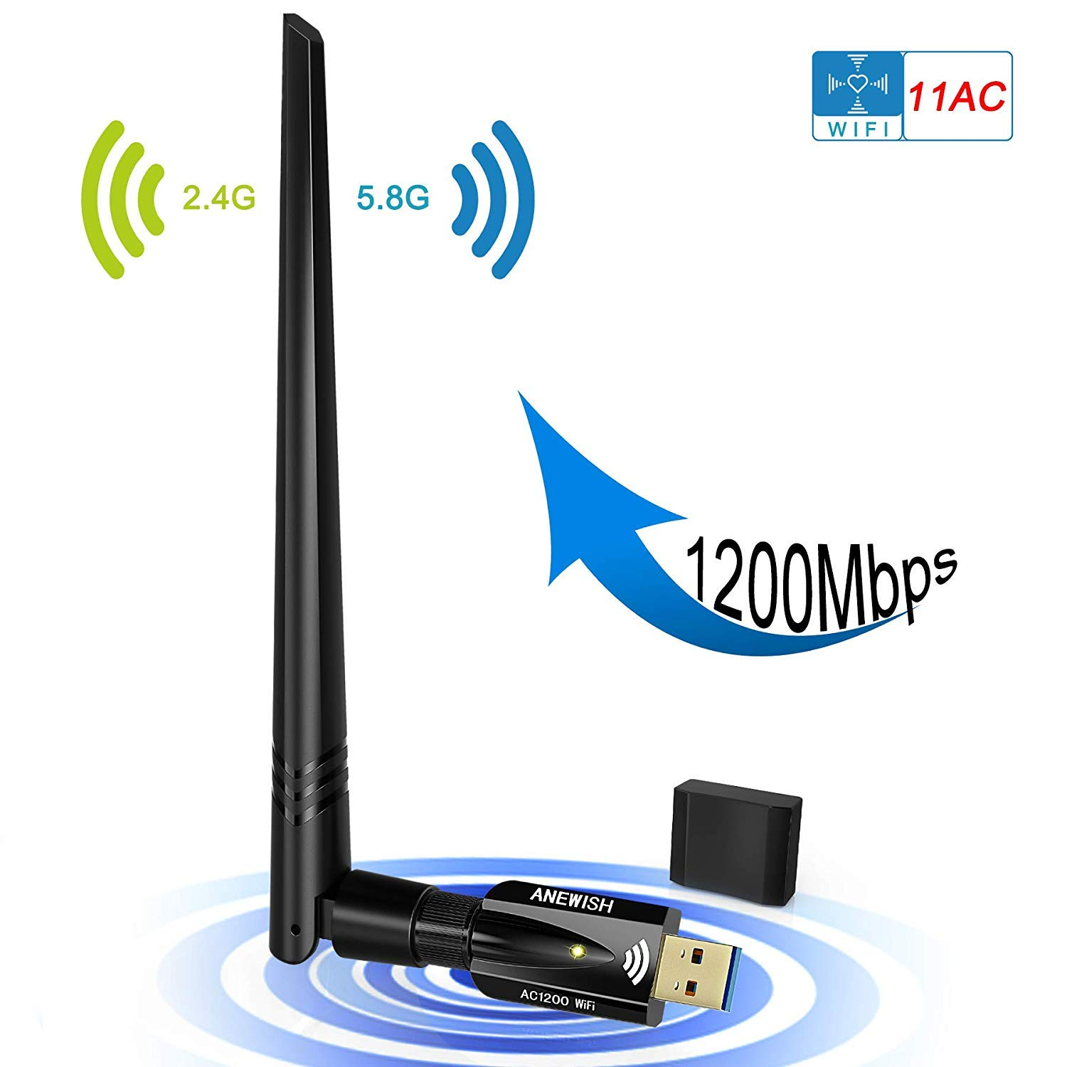 USB WiFi Adapter 1200Mbps, ANEWISH Wireless Adapter USB3.0 Dual Band 11ac(2.4GHz/300Mbps 5GHz/867Mbps) Network LAN Card Dongle for PC Desktop Laptop, Supports Windows, Mac and Linux