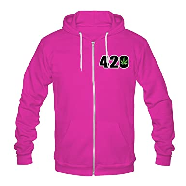efb12e3670e Mens Womens Cannabis 420 Printed Zip Up Fleece Hoodie Winter Wear Sweatshirt  Lot (5035 Pink Zip Up Hoodie   Cannabis 420 Print Large Unisex)   Amazon.co.uk  ...