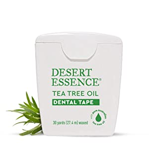 Desert Essence Tea Tree Oil Dental Tape - 30 Yards - Pack of 6 - Naturally Waxed w/ Beeswax - Thick Flossing No Shred Tape - On The Go - Removes Food Debris Buildup - Cruelty-Free Antiseptic