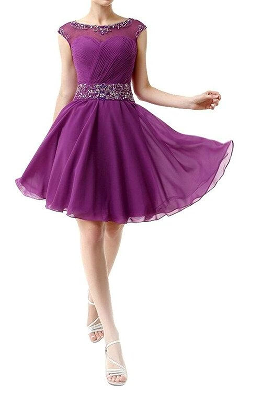 SimpleDressUK Women's A-Line Ruffles Short Bridesmaid Dress With Beadings