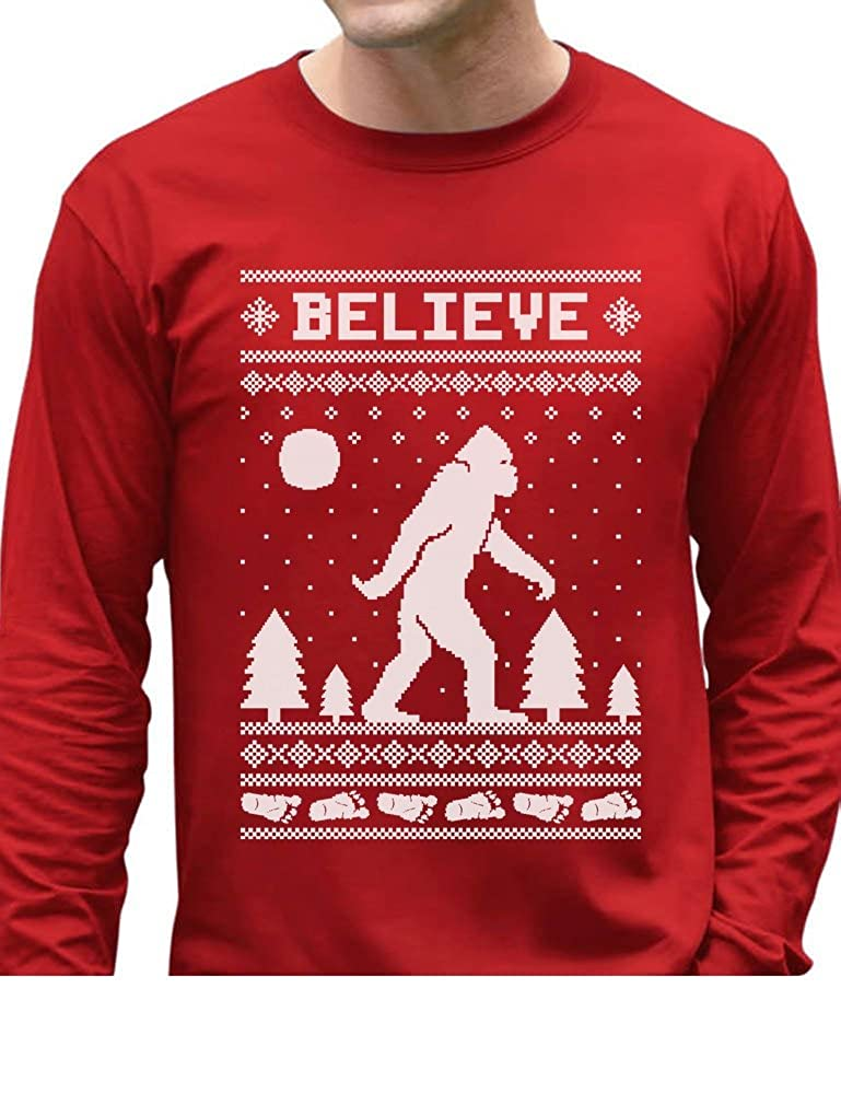 TeeStars - Bigfoot I Believe Xmas Sasquatch Ugly Christmas Long Sleeve T-Shirt GhPhrtagC