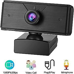 Webcam with Microphone Elejolie HD Webcam 1080p Computer PC Laptop Desktop Web Camera USB 2.0 Web Cam for Live Streaming,Mac Skype,Calling,Meeting,Video,Online Classes(P2)