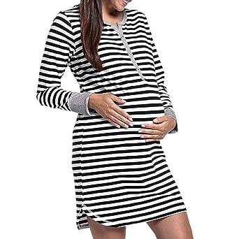 Amphia Ropa Embarazadas Vestido Vestido de Lactancia de Maternidad de Rayas botón camisón de Manga Larga de Las Mujeres: Amazon.es: Ropa y accesorios