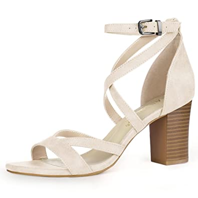 76f36ce3c212 Allegra K Women s Crisscross Ankle Strap Chunky Heel Beige Sandals - 6.5 ...