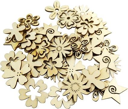 Fiori e Foglie di bricolage Cuigu assortimento di Decorazione per Matrimonio Set di 100 Fiori in Legno per Artigianato