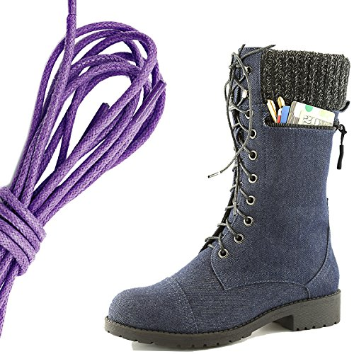 DailyShoes Womens Combat Style Lace up Ankle Bootie Round Toe Military Knit Credit Card Knife Money Wallet Pocket Boots, Purple Blue Denim
