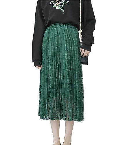 Gladiolus Mujer Faldas Largas Plisada Básica Cintura Alta Falda ...
