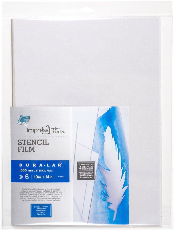 Grafix Impress Stencil Films, 10 x 14-Inch, 6-Pack