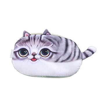 Shuda Animal Patrón de Peluche Bolsa de Lápiz Lindo Suave con Cremallera Forma de Gato Estuche