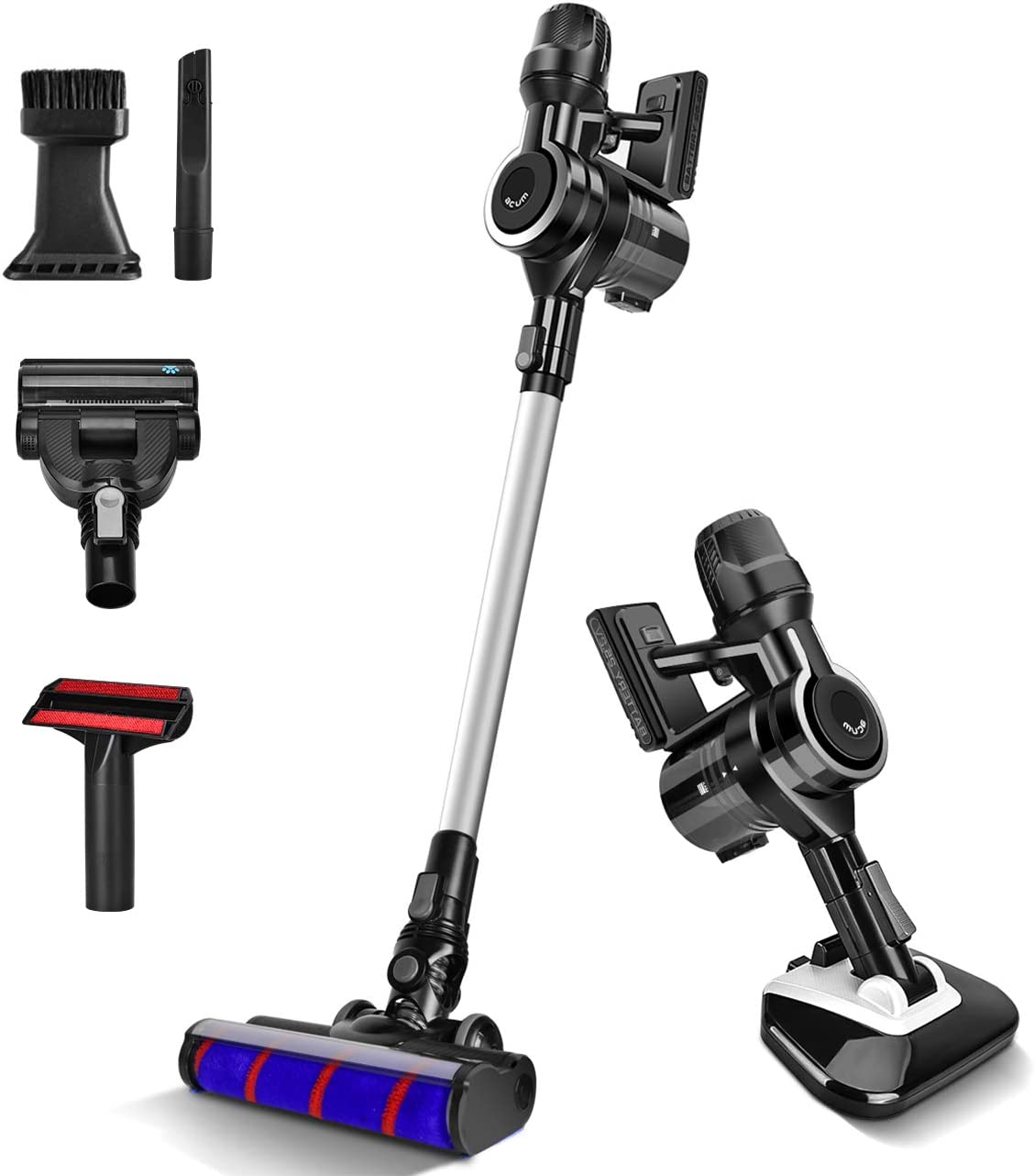 acum Cordless Vacuum Cleaner 23KPa Powerful Suction 6 Brush Attachments, Lightweight & 30min Lasting Runtime for Hardwood Floor Carpet Mattress & Pet Hair Cleaning, Black