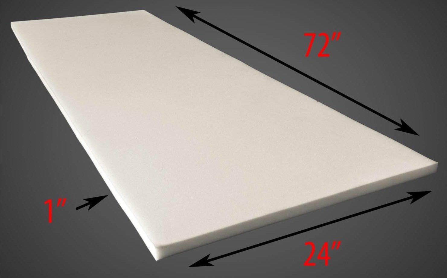 1'' X 24'' X 72'' Upholstery Foam Cushion (Seat Replacement , Upholstery Sheet , Foam Padding) by luvfabrics