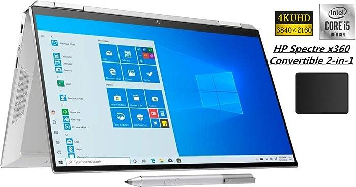 """HP Spectre x360 2-in-1 13.3"""" 4K Ultra HD Touch-Screen Laptop Bundle Woov Mouse Pad   10th Gen Intel Core i5-1035G4   8GB RAM   256GB SSD   Fingerprint Reader   Backlit Keyboard   Windows 10"""