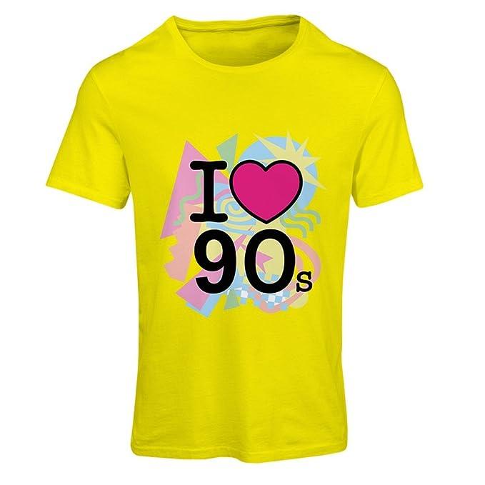 Camiseta Mujer ¡Amo los años 90! - Ropa de Estilo Retro (Small Amarillo