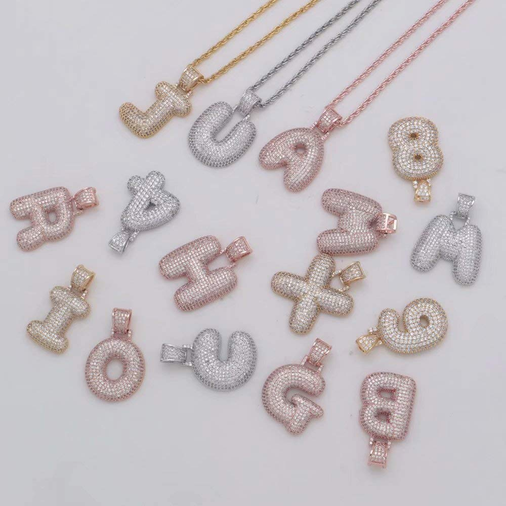 Customized Bubble Necklace Letter Simulated Diamond Chain Pendant Necklace