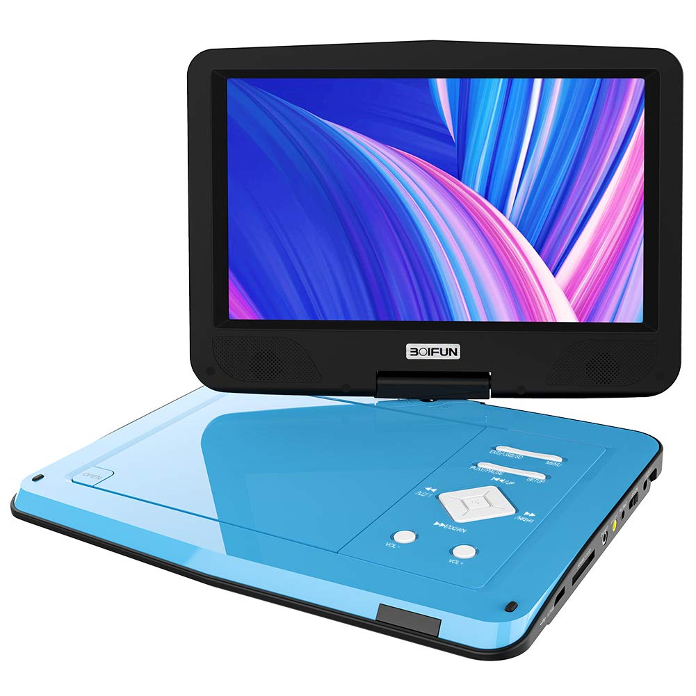 BOIFUN Portable DVD Player 12.5 inch, Enhanced Screen Brightness to 220cd/m2, 5 Hours Rechargeable Battery, Dual Earphone Jack & Loud Volume, Region-Free,Blue
