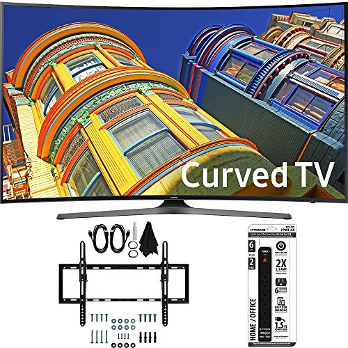 Samsung UN55KU6500 - Curved 55-Inch 4K Ultra HD LED Smart TV w/ Tilt Wall Mount Bundle includes TV, Flat & Tilt Wall Mount Ultimate Kit and 6 Outlet Power Strip with Dual USB Ports