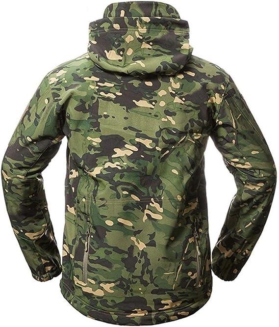 YEVHEV Chaqueta impermeable para hombre chaqueta militar t/áctica militar para actividades al aire libre chaqueta t/áctica de manga larga con capucha y 6 bolsillos