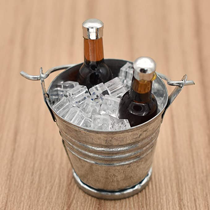 Mini Ice Cube Bucket With Beer Bottles 1//6 Scale Dollhouse Decor Model Toys