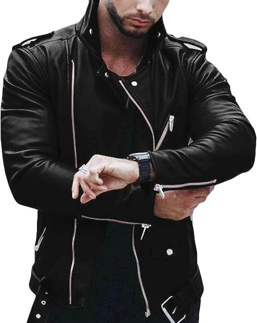 XXBlosom Mens Oblique Zipper Slim Fit Stand Collar Faux Leather Motorcycle Jacket