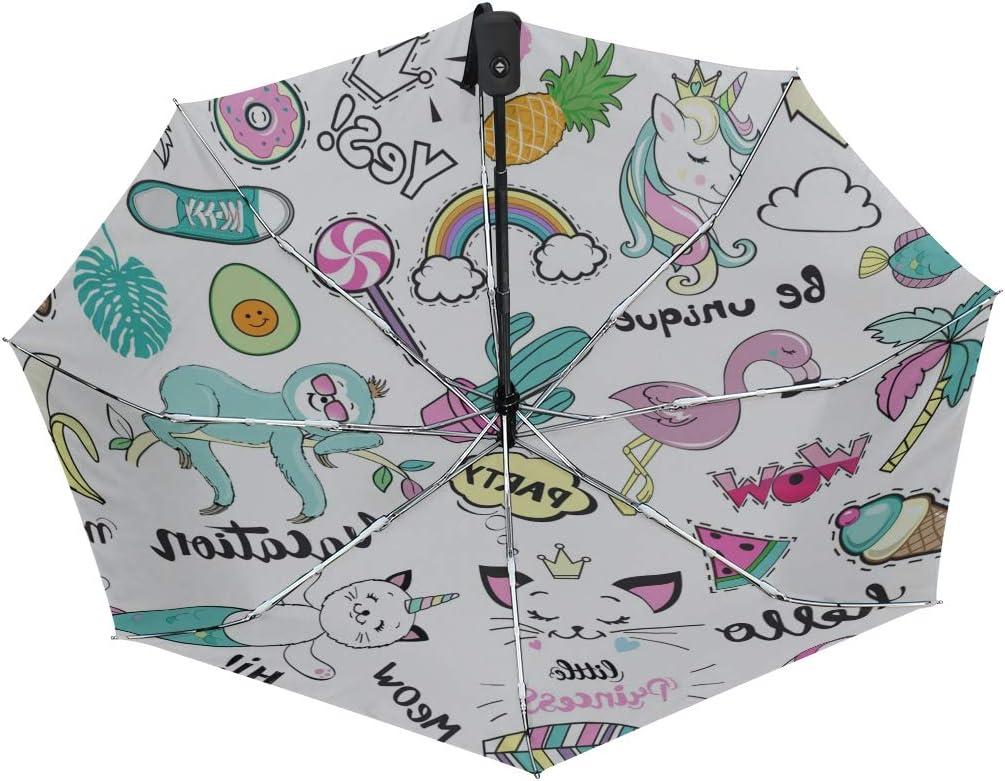 Parapluie Pliable et Compact Motif Licorne Chat sir/ène Cactus et Flamant Rose Jeansame pour Femme Homme Enfant gar/çon Fille