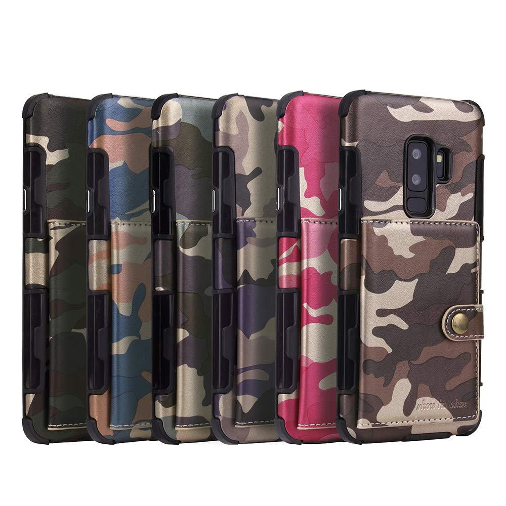 Galaxy S9 Plus Case, DAMONDY Luxury Camo Wallet Purse Card Holders Design Cover Soft Shockproof Bumper Flip Leather Kickstand Magnetic Closure Camouflage Case for Samsung Galaxy S9 Plus-Gray by DAMONDY