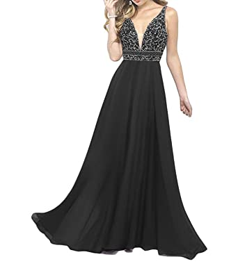 Liaoye Womens Deep V Neck Beaded Prom Dress A Line Long Backless Party Gown Black 2