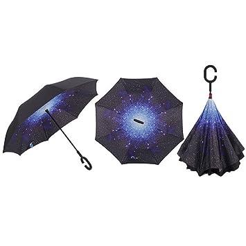 J-Power paraguas invertido cortavientos Reversible paraguas UV Protección para coche por paraguas doble capa